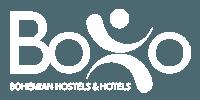 boho bohemian hostels and hotels white logo